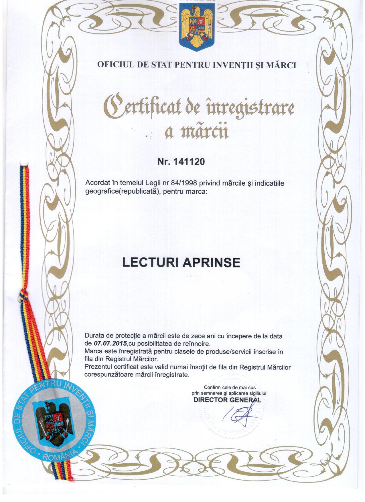 Certificate de înregistrare la OSIM